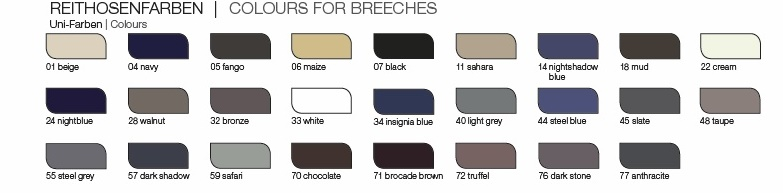 Pikeur Breeches Colour Chart mens