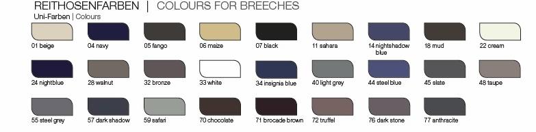 Pikeur Breeches Colour Chart mens