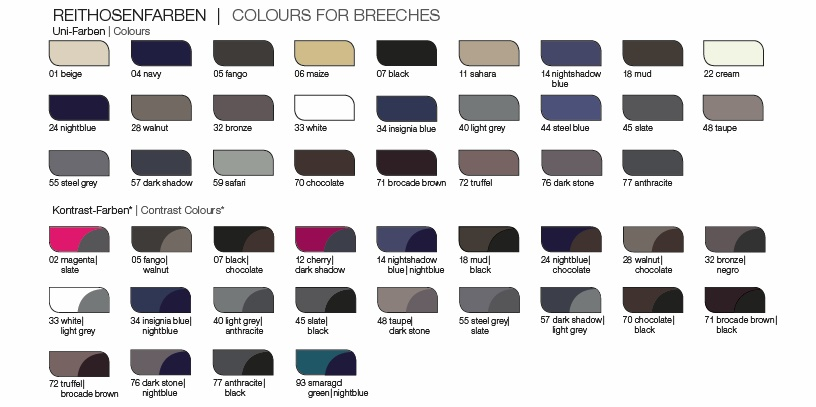 Pikeur Breeches Colour Chart