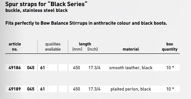 spur straps black series 49186